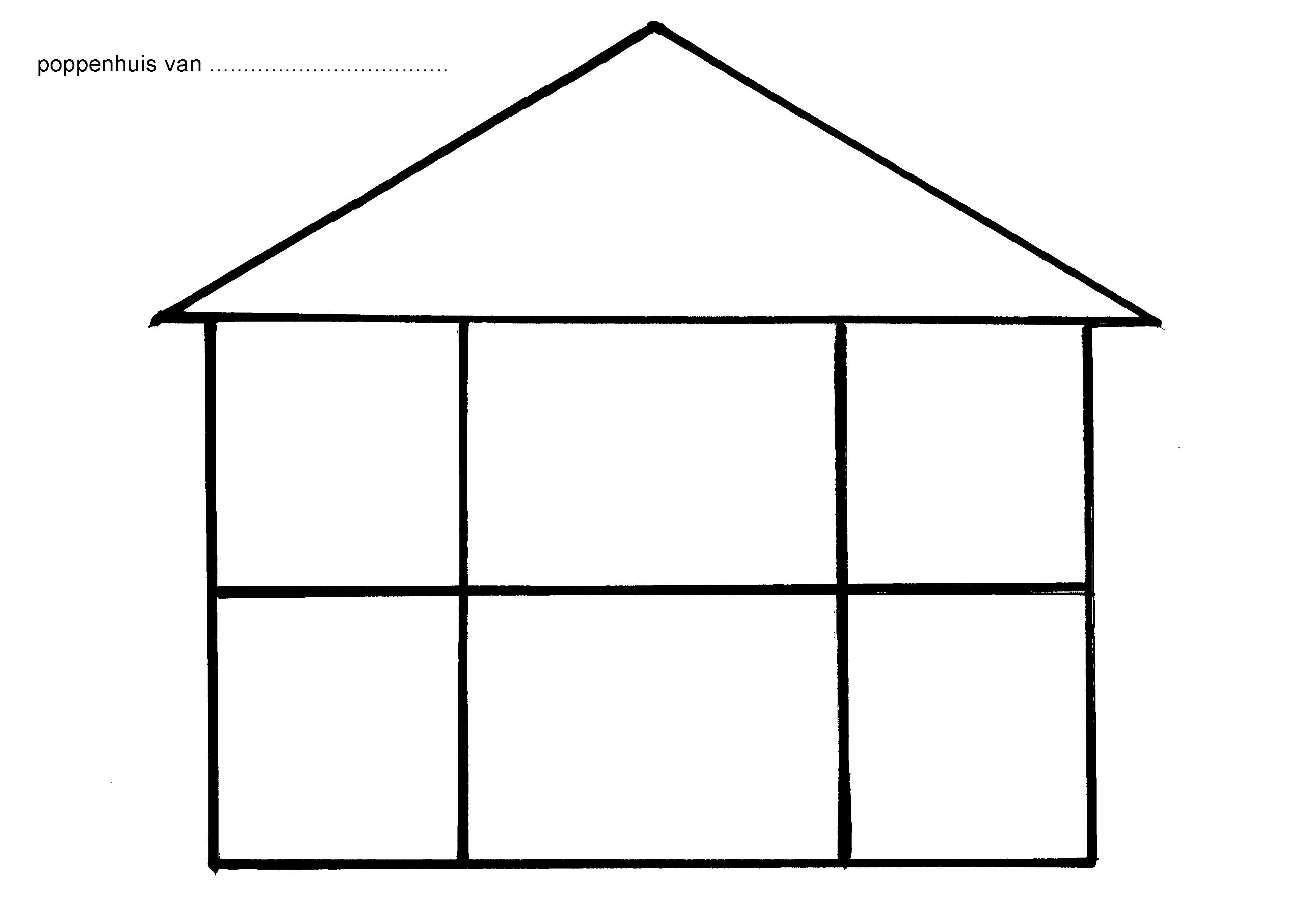 Print deze kleurplaat van een leeg poppenhuis op a4 voor for Poppenhuis bouwen